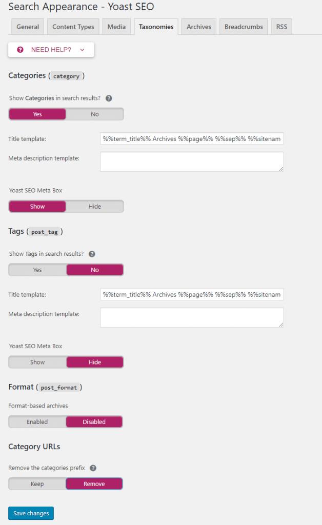 tab taxonomies - panduan setting pluin seo terbaik Yoast terbaru