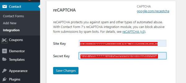 8 masukkan kode google recaptcha key ke contact form