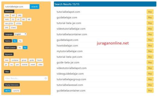 hasil pencarian referensi nama domain