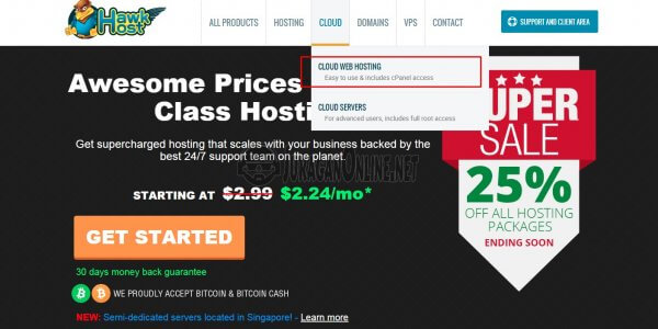 memilih menu hosting pada hawkhost