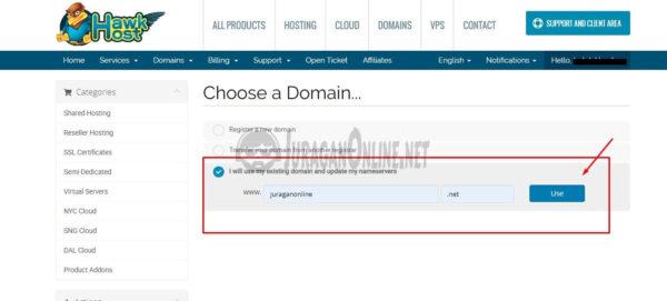 pilih domain untuk hawkhost 1