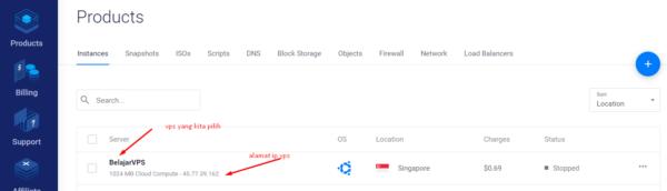 melihat ip default vps